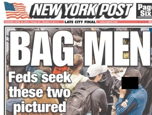 "The misleading New York Post Cover which fails to even identify who the ""two men"" are! Instead, they left the only visible face as a man who wasn't even a suspect! I have placed a box on this man's face in a show of respect. Unfortunately the N.Y. Post didn't do the same thing."