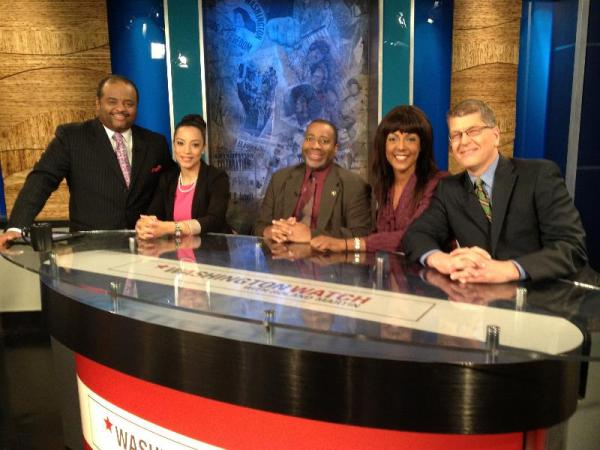 from left to right: Roland Martin, Angela Rye, Raynard Jackson, Michelle Bernard and Steve Clemons.
