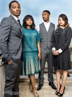 from left to right: director Ryan Coogler, actors and actresses Viola Davis, Michael B. Jordan, and Melanie Diaz at the Oakland, California premiere on June 20 at Grand Lake Theater.