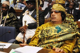 The late Libyan leader Muammar Gaddafi at a summit of the African Union.