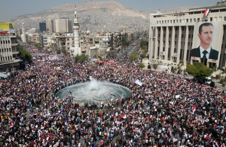 Syrian protesters rally in support of president Bashar al-Assad