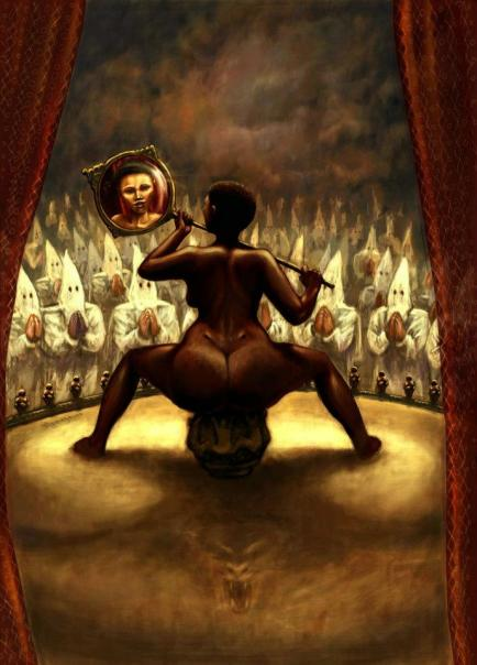 This disturbing yet stunning painting was created by the extraordinarily talented Cape Town artist, Frederick Mpuuga, and is an artistic interpretation of the'Hottentot Venus's' life as viewed through the lens of subsequent history.