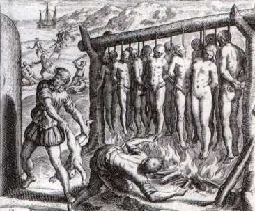 Natives who should any sort of resistance to Columbus and Spanish occupation were hung, mutilated or castrated.