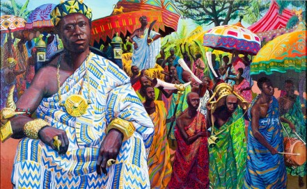 A realistic artistic depiction of an ancient Asante King in what is now Ghana. painted by Alfred Smith.
