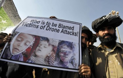 "Protesting the United States' controversial policy of ""targeted killings"" by use of predator drones."