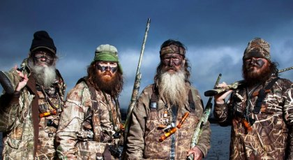 "No these are not Neanderthal men. They're just the crew members of A&E's popular ""reality"" TV show, ""Duck Dynasty""."