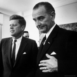 President Jack Kennedy with his Vice President Lyndon Baines Johnson at the White House