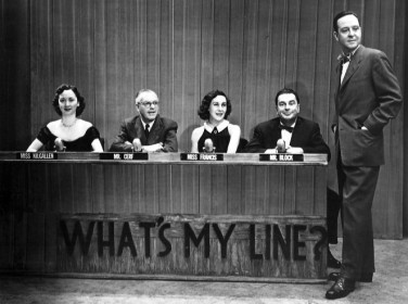 "Dorothy Kilgallen (the panelist all the way to the left) on CBS's hit TV game show, ""What's My Line?"" in 1952. She claimed to have uncovered news about the JFK assassination that would ""blow the case right"" open just days before she was discovered dead in her apartment."