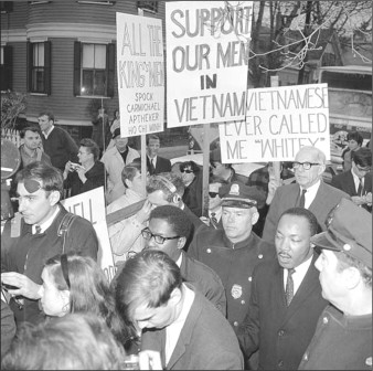Americans supportive of Lyndon Johnson's bombing campaign against Vietnam protest Dr. King for his brave stance.