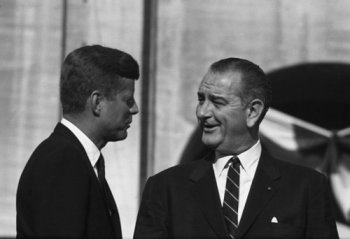 President John F. Kennedy with Vice President Lyndon B. Johnson in the early 1960s.