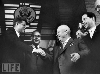 President Kennedy (left) shakes hands with Russian president Nikita Khruskrushchev