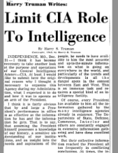 Harry Truman's criticism of the CIA, the very Agency he helped create.