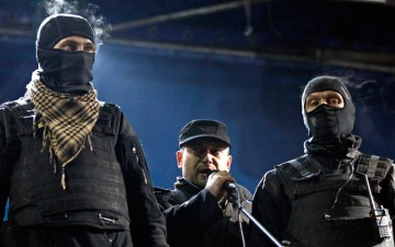 Dmytro Yarosh (center), neo-Nazi extremist and member of the nationalist Right Sector Party, speaks at a protest in Kiev.