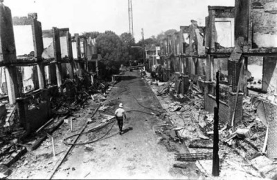 This is what the neighborhood in Philadelphia where MOVE was headquartered looked like after police dropped a large bomb on them in 1985, killing 11 MOVE members in all, 5 of them children.