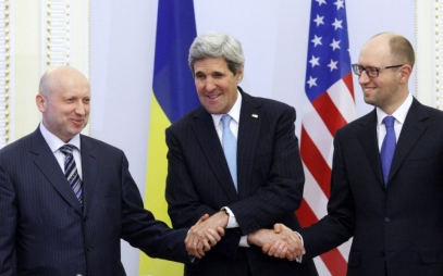 U.S. Secretary of State John Kerry shakes hands with the new American-backed President and Prime Minister of Ukraine, Aleksandr Turchynov and