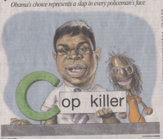 "This despicably racist caricature of Debo Adegbile with a ""Sesame Street""-styled Mumia Abu Jamal recently appeared in the Washington Times's physical edition of its paper. It did not appear in the online edition however, likely because they didn't want to draw too much attention from the mainstream press."