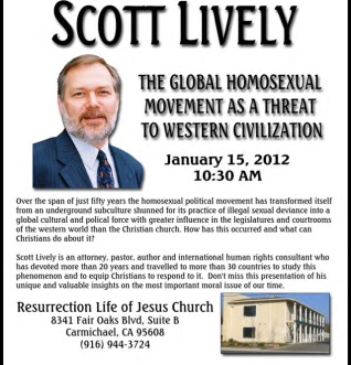 "Here's a huge paradox: Scott Lively was allowed to speak to the Ugandan Parliament and urge them to pass the ""Kill the Gays"" Law, on the basis that homosexuality is representative of Western culture. Yet his website claims that homosexuality is the enemy of ""Western Civilization"". So which is it??"