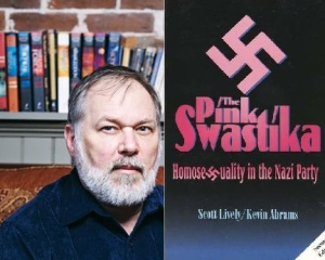 """Scott Lively and his """"Pink Swastika"""" conspiracy book."""
