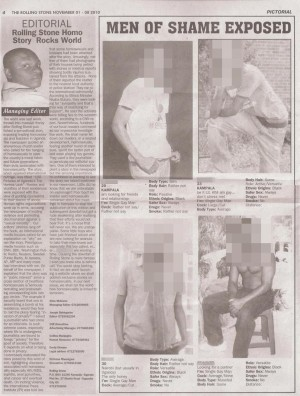 In 2010, Uganda's popular Rolling Stone publication carried a headline that would incite anti-gay violence. The names, faces and sometimes even the locations of various allegedly gay men were printed inside the issue.