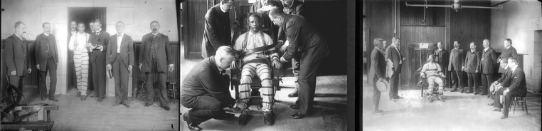 An inmate at Sing Sing prison in New York, whose name is uncertain, is pictured in the early 1900s being strapped to the newly invented electric chair.