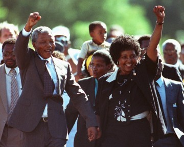 Nelson and Winnie Mandela on February 11, 1990 upon Nelson's release from prison after having spent 30 years incarcerated for actively opposing South Africa's apartheid regime.