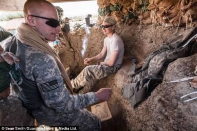 Bergdahl and other members of his unit in Afghanistan, before  he was captured by Taliban.