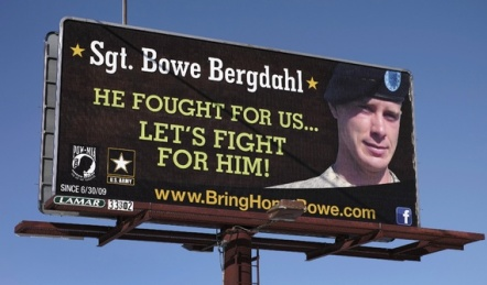 A billboard on display before it was announced he'd be released in exchange for five detainees at Guantanamo.