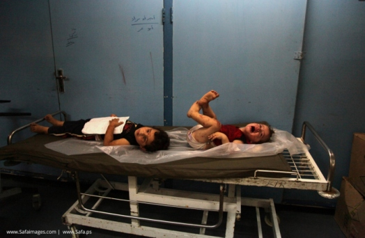 Injured children at the al-Shifa Hospital in Gaza