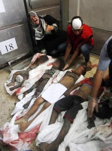 mourning over the bodies of the murdered Al-Najarr children