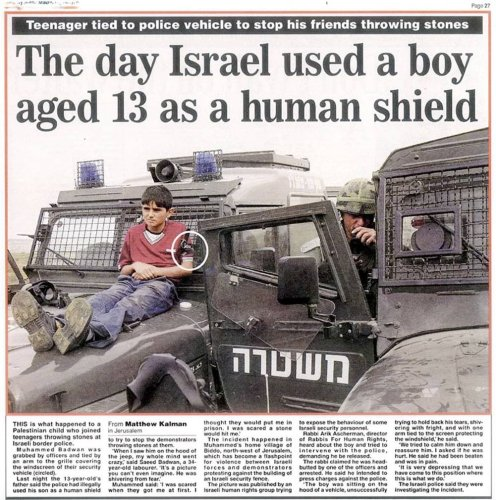 The day Israel used a boy aged 13 as a human shield