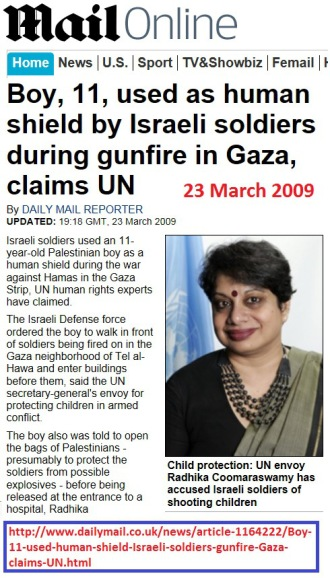 Boy, 11, used as human shield by Israeli soldiers during gunfire in Gaza, Claims UN 2009