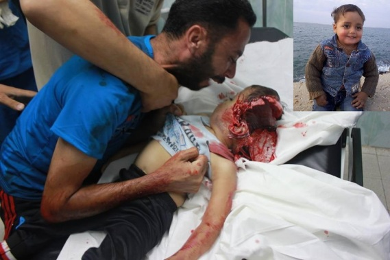 Grieving over the maimed corpse of his beloved 4 year-old son, Abu Namous cries out,