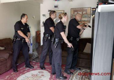 "A picture of an LAPD ""gang enforcement""detail."