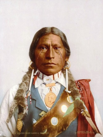Pictured is Apache Chief James Garfield Velarde wearing the Presidential Peace Medal in 1897.