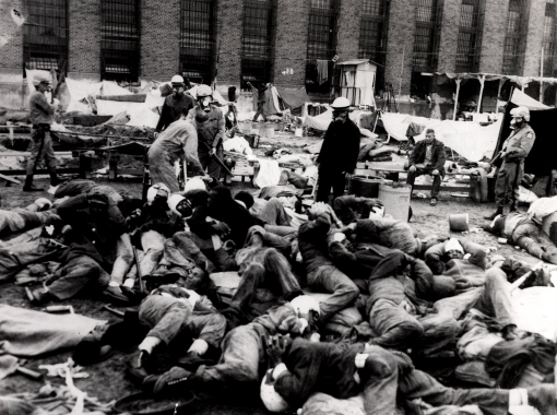 "The Attica Prison massacre was carried out by the National Guard. 43 lives were lost in what an official investigating Commission claimed was ""the bloodiest one-day encounter between Americans since the Civil War."""