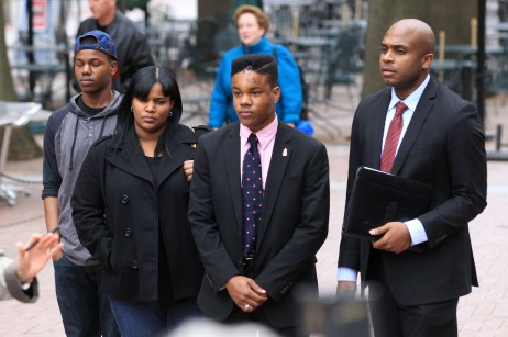 Martese Johnson with his family and Lawyer