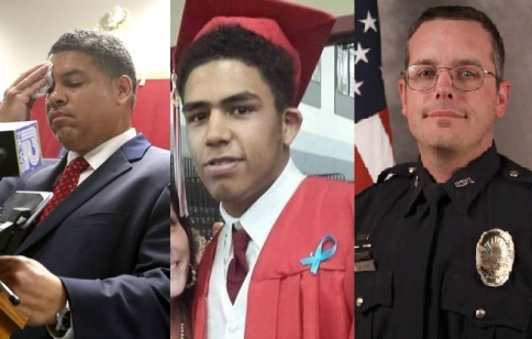 From left to right: Dane County District Attorney Ismael Ozanne, Tony Terrell Robinson Jr., and Madison, WI police officer Matt Kenny