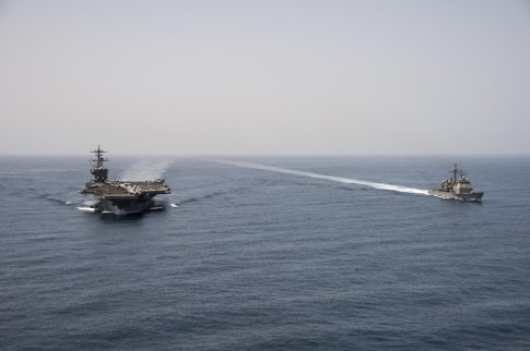 The Navy aircraft carrier USS Roosevelt and guided missile cruiser USS Normandy have been patrolling the coasts of Yemen