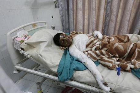 a child killed by Saudi Arabia's air bombardment of Yemen