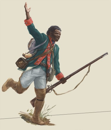 Illustration of a Black Loyalist fighting on the side of Great Britain in the American Revolutionary War of 1776; via http://uncyclopedia.wikia.com/wiki/File:Drawing12c_lrg.jpg