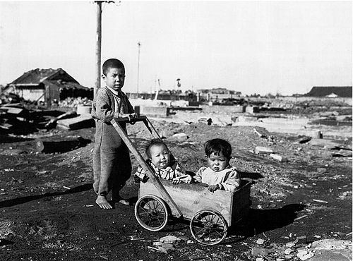 Newly orphaned children who managed to survive the blast of the A-bomb on Nagasaki.