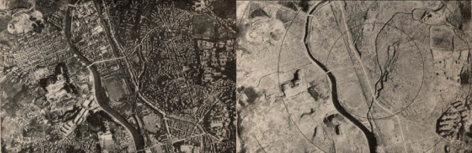 aerial view of Nagasaki; before (left) and after (right) the bomb
