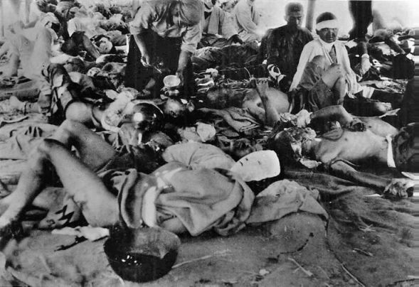 The initial survivors of Hiroshima's aftermath. Many would die in the days and weeks to come.