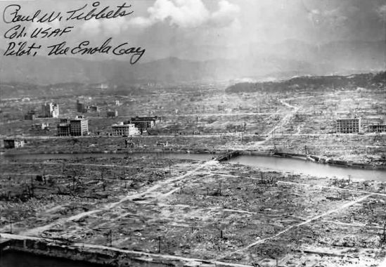 The destruction and devastation of Hiroshima, proudly autographed by the Enola Gay's Col. Paul Tibbets Jr.