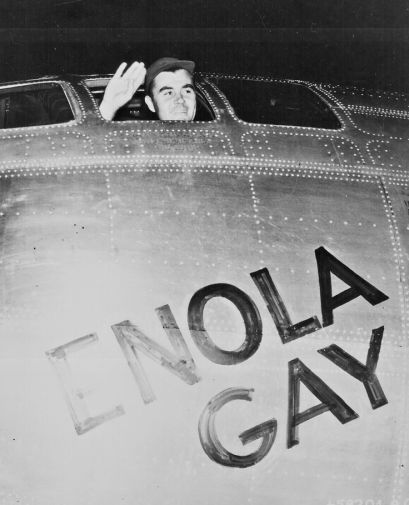 Col. Paul W. Tibbets Jr. embarking on the flight on the Enola Gay that will kill hundreds of thousands of Japanese civilians when an atomic bomb is dropped from the plane on Hiroshima.
