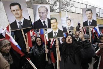 Pro-Assad demonstrators in Damascus, 2012.