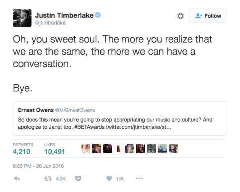 now deleted Justin Timberlake tweet