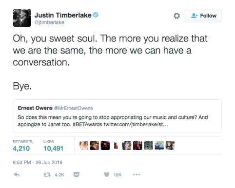 now deleted Justin Timberlake tweet