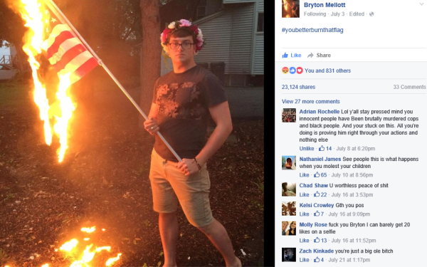 """A brave and enlightened Bryton Mellott caused an uproar in his Illinois community when he torched a U.S. imperialist flag in his own yard the day before July 4th, an incident for which he was arrested. Accompanying images of the flag-burning posted on his Facebook was a message explaining, """"In this moment, being proud of my country is to ignore the atrocities committed against people of color, people living in poverty, people who identify as women, and against my own queer community on a daily basis... I do not have pride in my country. I am overwhelmingly ashamed, and I will demonstrate my feelings accordingly. #ArrestMe"""""""