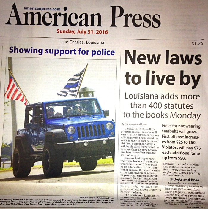 Lake Charles American Press New Laws to Live By Showing Support for Police